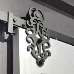 Porta portas de armário deslizante on-line-Hardware de porta de celeiro deslizante de aço de padrão real preto Hardware de porta de armário deslizante de porta de aço real padrão duplo