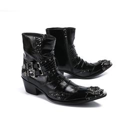 6.5 cm Topuklu Erkekler Çizmeler Siyah Deri Elbise Çizmeler Metal Ucu Botas Tokalar ile Hombre Punk Rock Motosiklet Kısa Çizmeler nereden