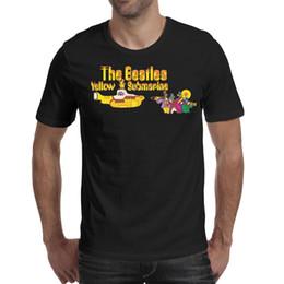 2019 sottogonne gialle The Beatles Yellow Logo Maglietta da uomo nera Camicie Maglietta personalizzata Crea una maglietta Champion Stampa la tua maglietta Nera sottogonne gialle economici