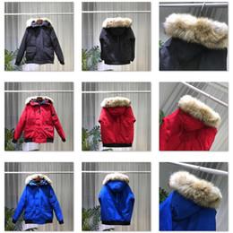 peles vermelhas homens Desconto Qualidade superior Real Coyote Fur Designer de Inverno Mens Jaqueta Bomber Parka Ganso Para Baixo Casaco Jaqueta PBI Puffer Casacos Jaqueta Quente Etiqueta Preta Vermelha