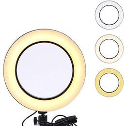 Câbles sous tension en Ligne-14.5cm Dimmable LED Light Ring Selfie Light Lampe Appareil photo Live Ring Remplir-in light USB câbles hotography Selfie Light Lampe Photo 3 couleurs