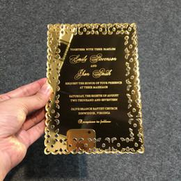 Lettere d'invito online-20 pezzi per lotto Scavi fuori Stile d'Oro Specchio acrilico Invito Cards inciso a laser lettere NAVE PER USA SOLTANTO