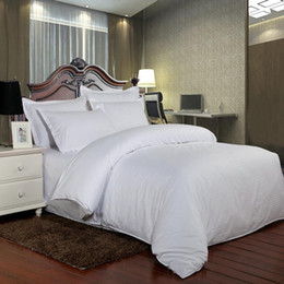 Conjuntos de cama para hotéis on-line-100% algodão sólida Bedding Set Faixa de Luxo White Hotel Lençois gêmeo Rainha Rei Full Size Duvet CoverFitted SheetPillowcase
