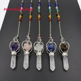 Stelle di gemma online-7 Chakra Stone Chain Star Pendenti esagonali Reiki Pendulum Natural Gem Stone Charms Healing Amulet Europe Fashion Jewelry