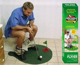 set di regali per il bagno Sconti 3sets Golf Toy Bagno Divertente Golf Toilet Time Mini Game Play Putter Novità Gag Gift Mat Set