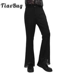Pantalon negro online-TiaoBug Hombres Negro Vintage Jazz Dance Pantalones Largos Pantalón Traje de Danza Lentejuelas Adultos Cuff Bell Flared Bottom Disco Pantalones