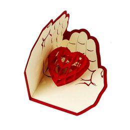 2019 mensajes del arbol de navidad 3D Pop Up Tarjeta de felicitación Amor en manos Cumpleaños Buena suerte San Valentín Navidad lp0143