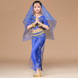 Canada Costumes de Danse du Ventre pour Enfants Costume Haut + Pantalon + Ceintures + Voile + Bracelets Style Ethnique Filles Stage Performance Bollywood Vêtements de Danse S / M / Offre