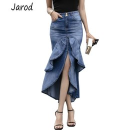Faldas maxi jeans online-Lady Long Denim Falda de cintura alta Tassel Jeans gradiente Trompeta Cool Fish Tail Sirena Bohemio Maxi Faldas sirena faldas mujer