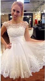 64257aa7ba33 2019 belli vestiti eleganti corti Nuovo economici bella perla elegante  aperto indietro Sexy White Lace Weeding