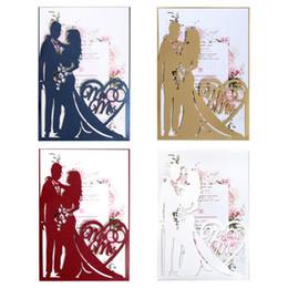 animação de desenho animado de casamento Desconto 20 pçs / set Sr. Sra. Convites de Casamento Cartão de Corte A Laser Convide Envelopes Kit Nupcial Do Chuveiro de Noivado