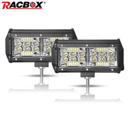 Luces led quad atv online-Racbox 7 inch quad row 60W LED Work Light 6000K White Combo beam Off Road Driving Light 4x4 Truck Motocicleta SUV UTV ATV 12V 24V