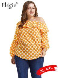 d4f8e08038ad88 Plegie Plus Size Blouse Women Polka Dot Print Womens Tops And Blouses  XL-4XL Blusas Mujer De Moda 2019 Ruffles One Shoulder Top black one shoulder  blouse ...