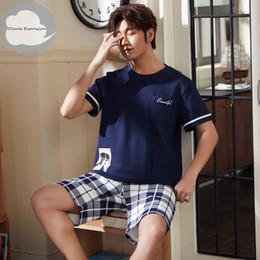 2020 marcas de pijamas de algodón Estrenar de punto de algodón de manga corta de los hombres pijamas de Hombre Conjunto de pijama Carta de pijama para hombre dormir Traje Homewear tamaño XXXXL marcas de pijamas de algodón baratos