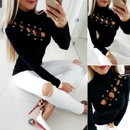 2019 ropa punk Correa para mujer Camiseta de algodón Camisas de mujer Camiseta de manga larga Top Punk Tops Ropa vintage Ropa para mujer rebajas ropa punk