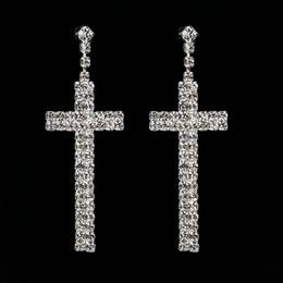 Pendientes de diamantes de las mujeres online-Accesorios de moda Todos coinciden con la fiesta de diamantes Pendientes cruzados Pendientes de plata chapados Joyería para mujeres