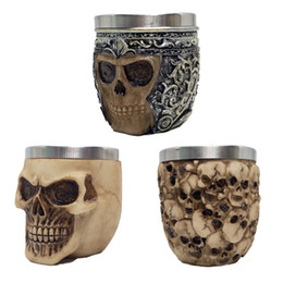 mug shots Promo Codes - Halloween Skull Shot Cup Stainless Steel Knight Style Shots Mug Multi Styles Bar KTV Drinking Cups New Arrival 14jk L1