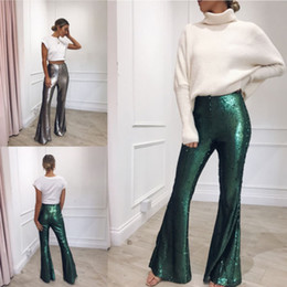 77a40897695 Fashion Women High-Waisted Retro Boho Long Pants Palazzo Vintage Wide Leg  Loose Sequin Ladies Flare Trousers discount palazzo pants fashion