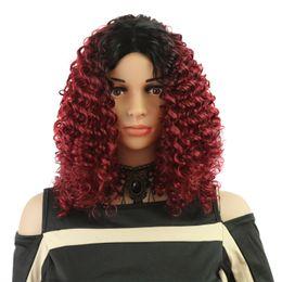 Rouge chimique en Ligne-Perruques européennes et américaines femme fibre chimique haute température soie gradient de teinture vin rouge africain petite tête