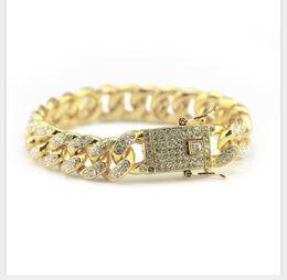 gold-diamant-tennis-armbänder Rabatt Hip-Hop-Armband Schmuck Diamant Cuban Armband Hiphop Herrenmode Diamant Handschmuck