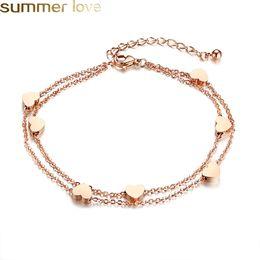 gold armbänder designs für mädchen Rabatt Neue einfache design edelstahl charme armband 2 schichten rose gold gliederkette mini herzen liebhaber armband mode sweety stil für mädchen
