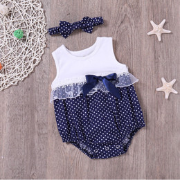 2019 обогреватели толстовки Patchwork Baby Clothes Polka Dot Print Baby Rompers+Headband Girl Lace Sleeveless New Born Clothes Cotton 2Pcs Summer Set