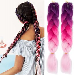 Ombre two three tone hair color jumbo braiding hair synthetic black brown  JUMBO BRAIDS bulks extension cheveux 24inch ombre box braids hair