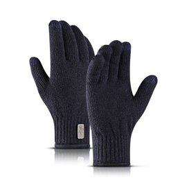 gloves short fingers Promo Codes - New Winter Knitted Wool Touch Screen Gloves Men Women Warm Short Plush Lining Full Finger Sports Cycling Skiing Gloves Mittens