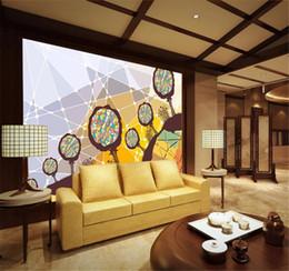 amerikanische tapeten Rabatt Abstraktes europäisches amerikanisches handgemaltes großes Baum-Wohnzimmer Fernsehhintergrund-HD-Digitaldruck-Feuchtigkeits-Wandpapier