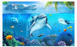 Murais subaquáticos on-line-Personalizado 3d foto papel de parede murais papel de parede Mundo subaquático Baleia Golfinho Peixe Tropical 3D Estéreo Quarto Fundo TV Parede