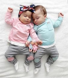 Mädchen hosen fallen online-Säugling Babymädchen Hoodies Pullover lange Ärmel + Patchworkhose 2er Set Frühjahr fallen Casual-Outfits Kinder Boutique Baumwollkleidung Tops