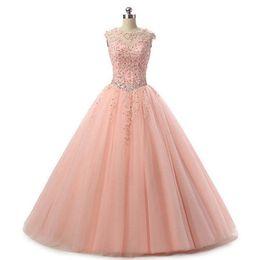 Pink Ball Gown Quinceanera Dresses 2019 New Arrive Crew Neck Vestidos De 15 Anos Tulle Sweet 16 Dress