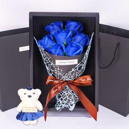 Fleur de savon artificiel Saint Valentin Rose avec ours en peluche 7pcs Roses cadeau pour amoureux romantique Saint Valentin décoration de mariage fleurs ? partir de fabricateur