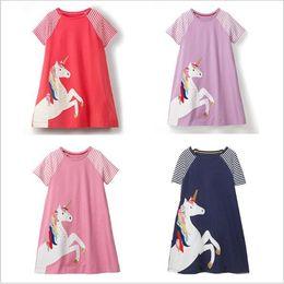e7ba2463214 Unicorn 100%Cotton Cartoon Striped Princess Dress Kids Designer Clothes  Girls Short Sleeve Dress Baby Clothing Tunic Girls Dresses DHL FJ159