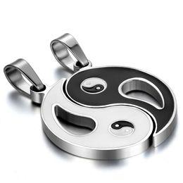 Ciondolo in acciaio inox chi online-intera venditaBISCOTTO acciaio inossidabile cinese mistico cinese Yin Yang Tai Chi Ba Gua ciondolo abbinato oro argento nero con Chian (coppia)