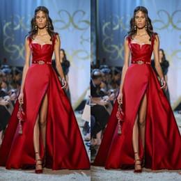 Elie saab vestidos de fiesta nuevos online-2020 vestidos de baile de Nueva Elie Saab partido se dividió lateral de noche rojo Vestidos formales de espagueti Una línea ocasión especial por encargo