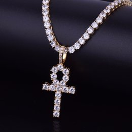 white gold cross necklace set Coupons - Hip Hop Iced Zircon Ankh Cross Pendant With 4mm Tennis Chain Necklace Set Micro Pave CZ Stones Men Jewelry