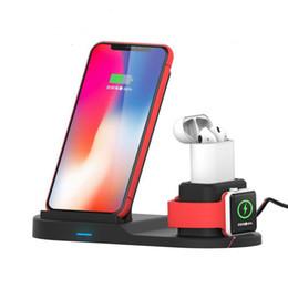dock para iphone qi Desconto Carregador sem fio 3 em 1 suporte de carregamento sem fio para Apple Watch, Estação de carregamento para Airpods, Carregador rápido sem fio Dock para todos os telefones Qi