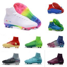 2019 botas de fútbol mercurial Botas de fútbol de arco iris de botines de fútbol de CR7 Mercurial Superfly botines de fútbol para hombre Cristiano Ronaldo de tobillo alto 40-46 rebajas botas de fútbol mercurial