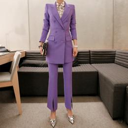 Escritório de calças roxas on-line-das mulheres Calças Ternos de negócio a longo Suits Blazer Jacket Abotoamento Female Office Lady pant Formal roxo Set 2 peças