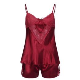 2019 vetement femme Womens Sexy Satin Sling ropa de dormir ropa interior de encaje Bowknot camisón conjunto de ropa interior desde fabricantes