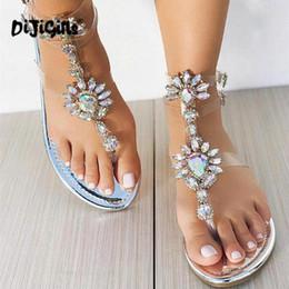 2019 sandalias planas de la boda rhinestones sandalias de mujer mujeres Rhinestones transparentes Cadenas sandalias planas Chanclas de cristal gladiador zapatos de boda Envío de la gota