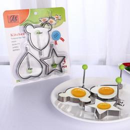 2019 atacadores de ovos Molde de Ovo frito 3 Peças / Set Aço Inoxidável Fritar Egg Shaper Mini Molde de Panqueca Biscoito Dos Desenhos Animados Molde de Cozinha Ferramenta DIY 2 Conjunto eParcel