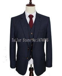 махровые шерстяные костюмы Скидка Worsted wool Dark Blue Custom Made Men suit groom tuxedos tailor made slim fit wedding suits for men 3 Piece