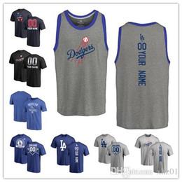Детские бейсбольные рубашки онлайн-Безрукавка Джер 2019 заказ мужские женские молодежные Доджерс Бейсбол t рубашка персонализированные имя и номер баннера волна дети бейсболка трехцветная