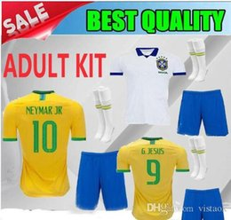 2019 camisetas de fútbol de brasil personalizados KIT DE ADULTOS 2019 2020 Copa América Brasil HOME camiseta de fútbol 19/20 Brasil de distancia COUTINHO G.JESUS PAULINHO Camiseta de fútbol de hombre Venta personalizada rebajas camisetas de fútbol de brasil personalizados