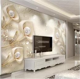 Fondo de pantalla de mariposas online-3d Wallpape joyería de lujo Calla Lily Butterfly sala de estar dormitorio de fondo decoración de la pared Mural Waound decoración de la pared Mural Wallpaper