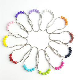 New 12 colori in acciaio inox Five Roller Ball zucca pulsante doccia tenda anelli Tenda Ganci -Z098 supplier ring gourd da zucca di anello fornitori