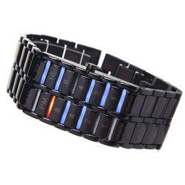 2020 relógio binário de quartzo Dia Moda presente S55 criativa dos homens Binary LED Digital de pulso de quartzo Pai relógio binário de quartzo barato