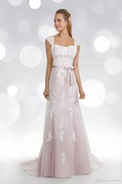Vestido de noiva com renda removível com renda on-line-Corando Rosa Lace Tulle Sereia Vestido De Noiva Com Alças Removíveis Não Branco Informal Vestido De Noiva Com Cor